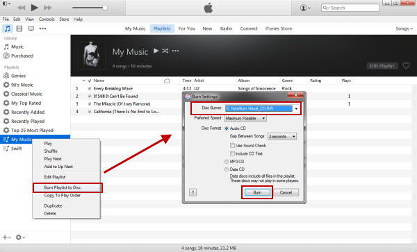 Burn iTunes Music on iTunes