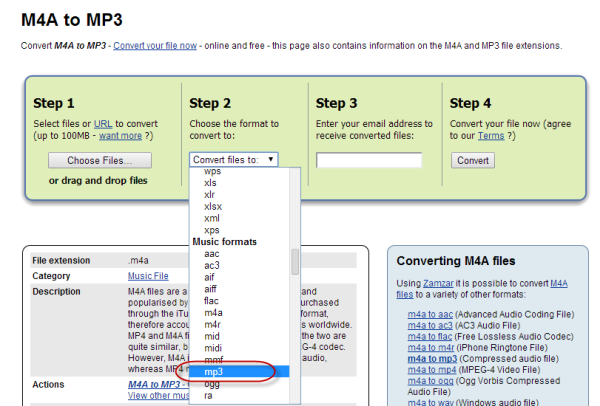 Convert M4A to MP3 with Online Converter
