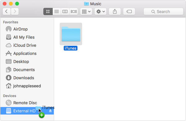 drag itunes folder to external hard drive