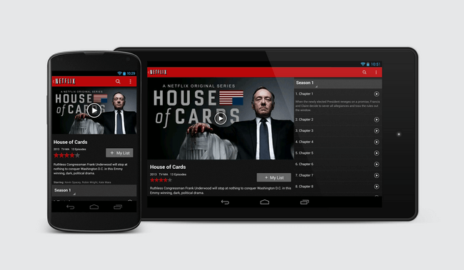 netflix to android phone or tablet