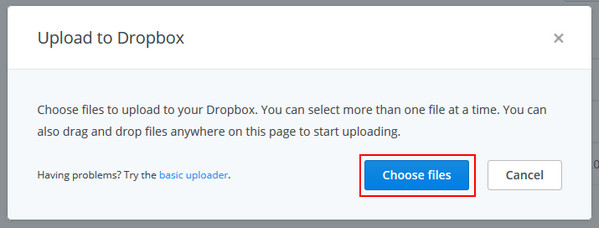 upload file to dropbox